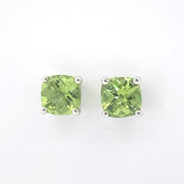 Peridot Cushion Stud Earrings Hingham Jewelers Hingham, MA