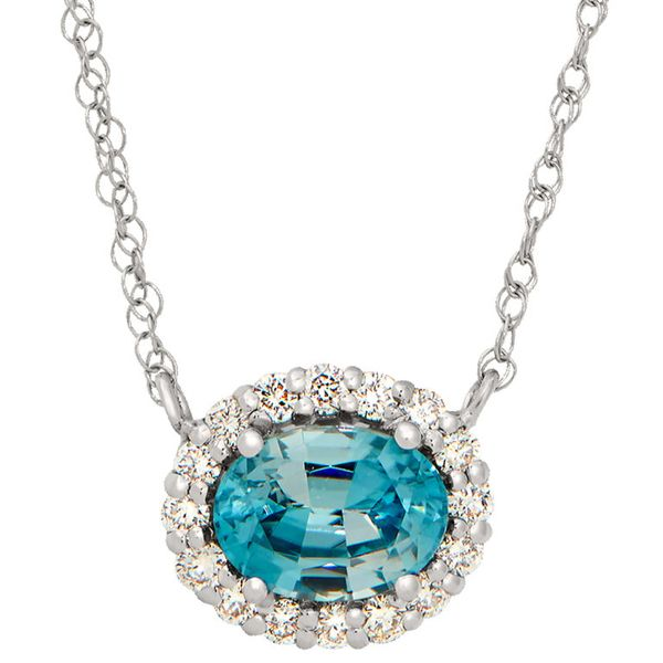 Blue Topaz Halo Necklace Hingham Jewelers Hingham, MA