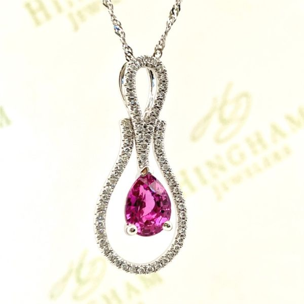 Pink Sapphire and Diamond Pendant Hingham Jewelers Hingham, MA