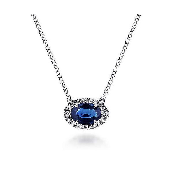 Oval Sapphire and Diamond Halo Pendant Necklace Hingham Jewelers Hingham, MA