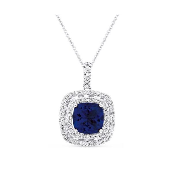 Created Blue Sapphire Double Halo Necklace Hingham Jewelers Hingham, MA