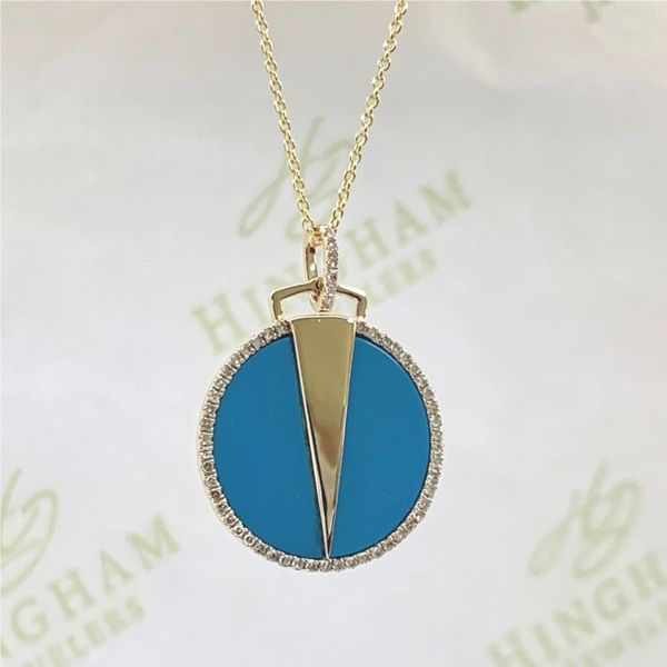 Modern Turquoise and Diamond Pendant Necklace Hingham Jewelers Hingham, MA