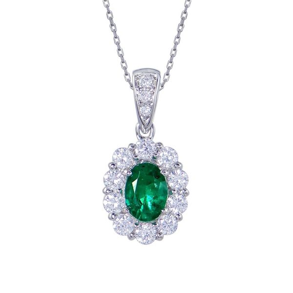 Emerald Halo Pendant Necklace Hingham Jewelers Hingham, MA