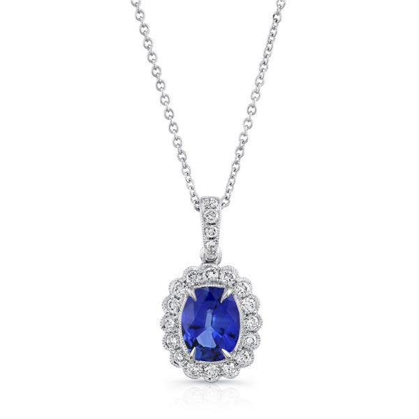 Sapphire Halo Pendant Necklace Hingham Jewelers Hingham, MA