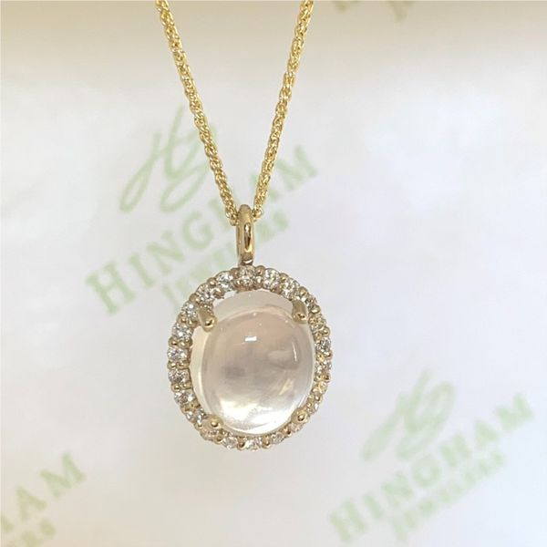 Moonstone Halo Pendant Necklace Hingham Jewelers Hingham, MA