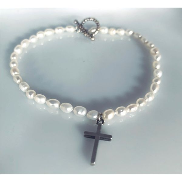 Freshwater Pearl Bracelet with Sterling Silver Cross Hingham Jewelers Hingham, MA