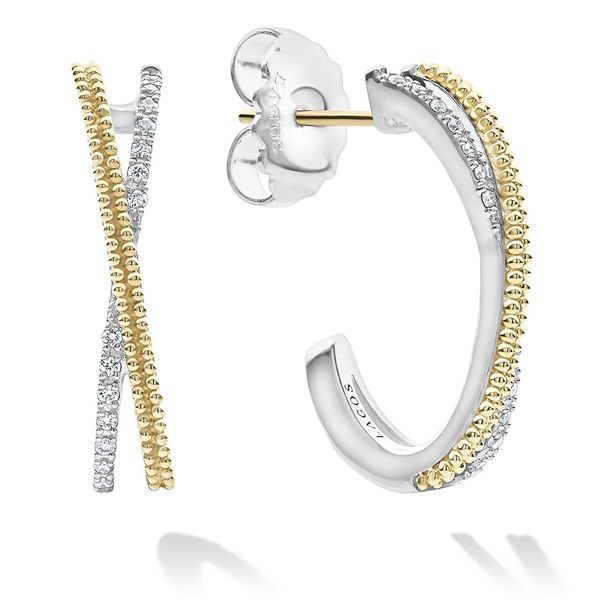 Caviar Lux Diamond Hoop Earrings Hingham Jewelers Hingham, MA