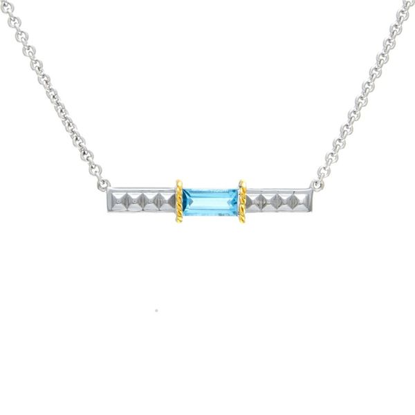 La Romana Blue Topaz Bar Necklace Hingham Jewelers Hingham, MA