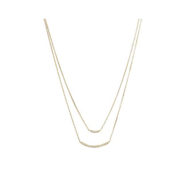 Double Strand Curved CZ Bar Necklace Hingham Jewelers Hingham, MA