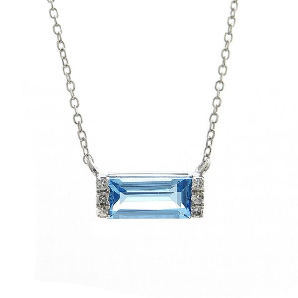 Blue Topaz Bar Necklace Hingham Jewelers Hingham, MA
