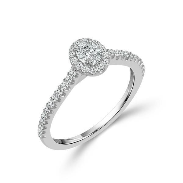 Petite oval halo design diamond engagement ring. Holliday Jewelry Klamath Falls, OR
