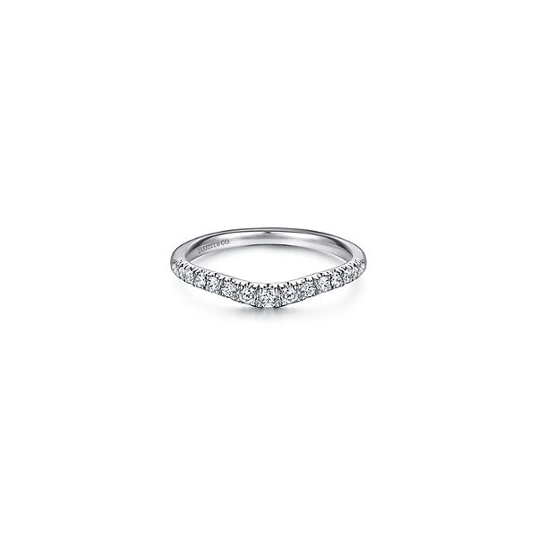 Curved French pave diamond wedding band by Gabriel & Co. Holliday Jewelry Klamath Falls, OR