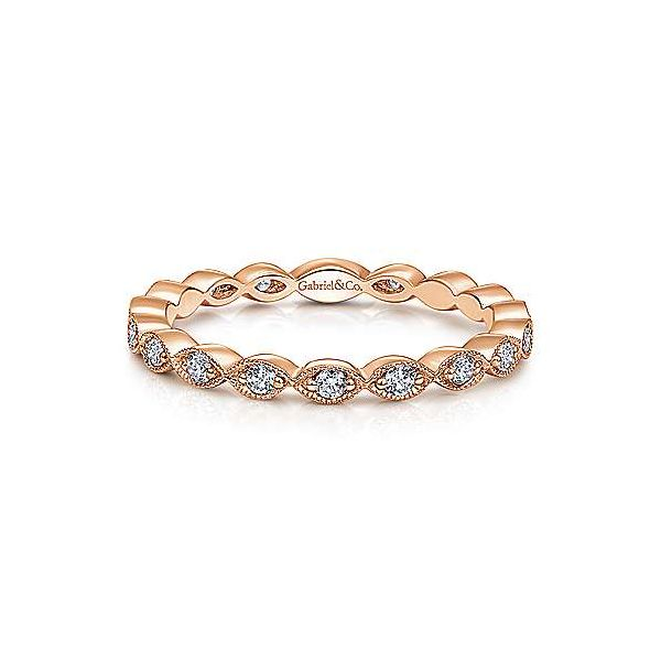 Rose gold marquise station diamond band by Gabriel & Co. Holliday Jewelry Klamath Falls, OR