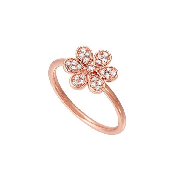 Rose gold flower diamond ring. Holliday Jewelry Klamath Falls, OR