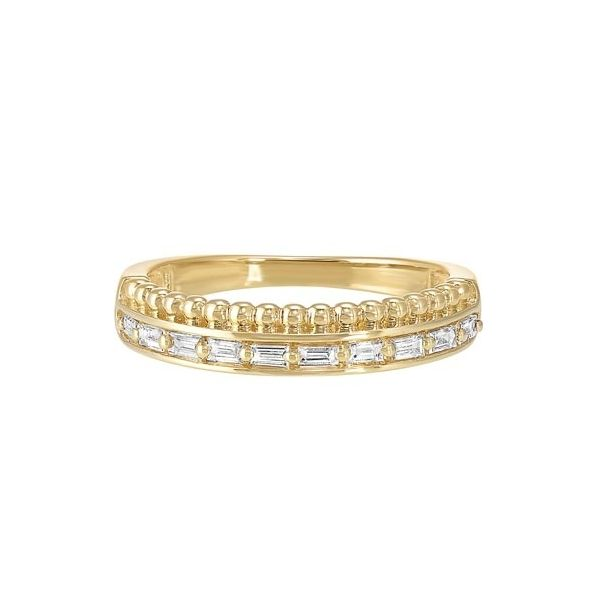 Baguette diamond band with beaded detail. Holliday Jewelry Klamath Falls, OR