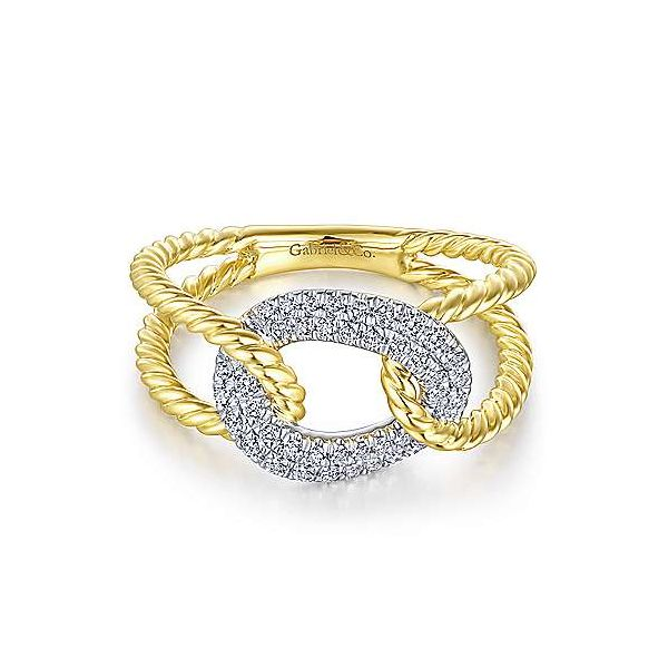 Unique pave diamond link ring by Gabriel & Co. Holliday Jewelry Klamath Falls, OR