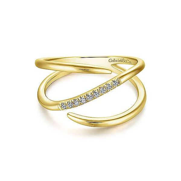 Split shank pave diamond wrap ring by Gabriel & Co. Holliday Jewelry Klamath Falls, OR