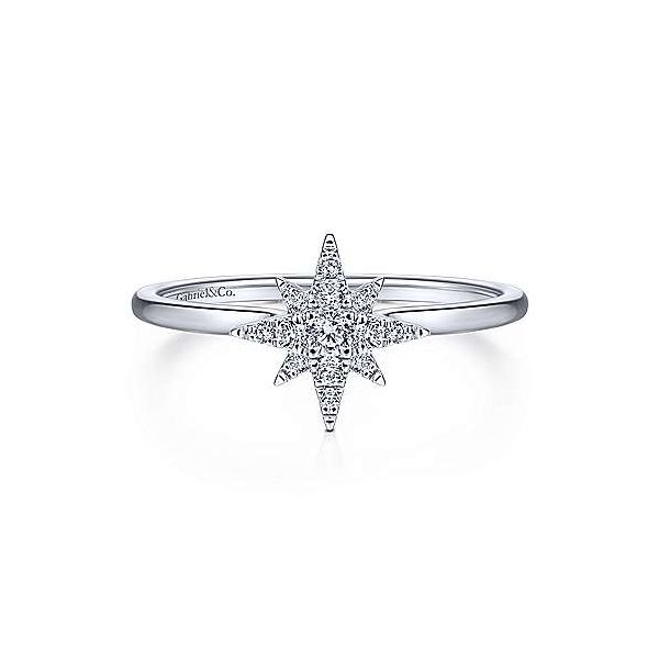 Gabriel & Co diamond starburst ring. Holliday Jewelry Klamath Falls, OR
