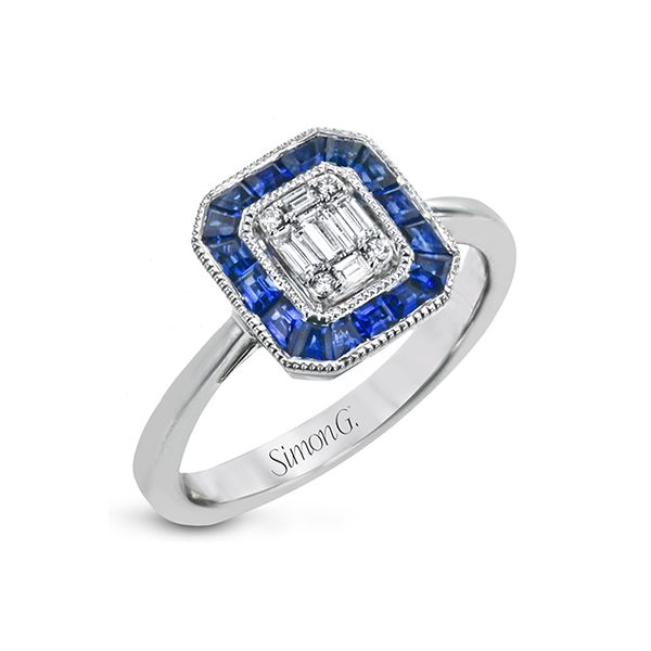 Simon G antique design sapphire and diamond ring. Holliday Jewelry Klamath Falls, OR