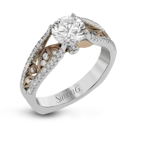 Simon G rose and white gold diamond ring. *center not included. Holliday Jewelry Klamath Falls, OR