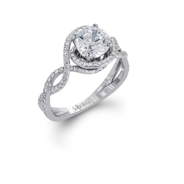 Simon G modern twisted halo diamond engagement ring. *center not included. Holliday Jewelry Klamath Falls, OR