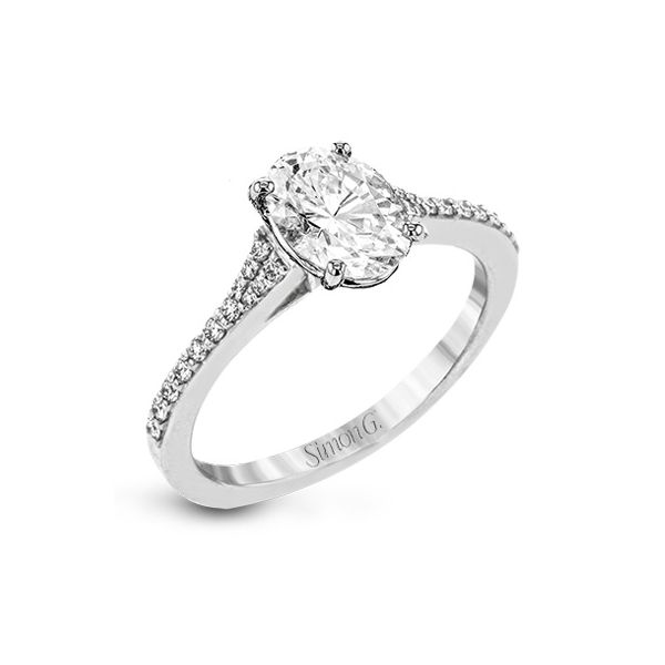 Simon G 18 karat white gold diamond ring. *center not included. Holliday Jewelry Klamath Falls, OR