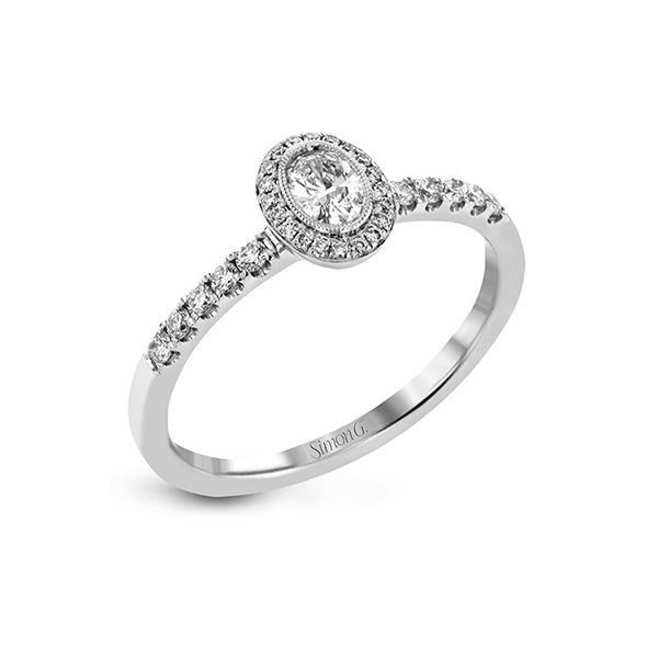 Classic oval diamond halo Simon G ring. Holliday Jewelry Klamath Falls, OR