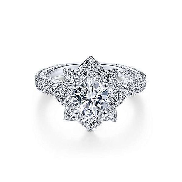 Unique halo design diamond ring by Gabriel & Co. *Center not included. Holliday Jewelry Klamath Falls, OR