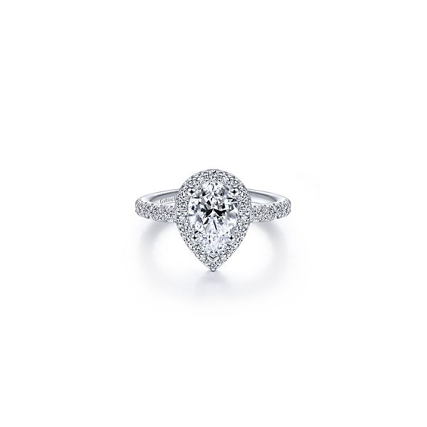 Stunning pear shaped halo diamond ring by Gabriel & Co. * Center not included. Holliday Jewelry Klamath Falls, OR