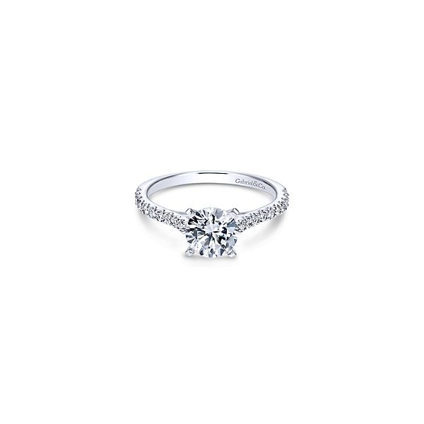 Straight line diamond engagement ring by Gabriel & Co. *Center not included. Holliday Jewelry Klamath Falls, OR