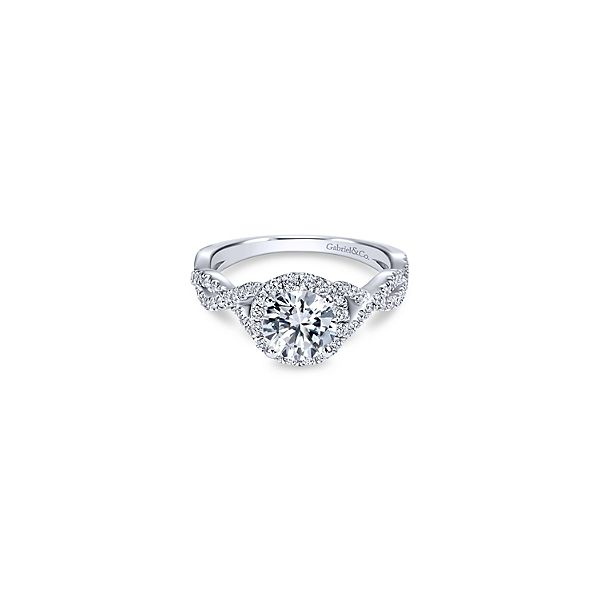 This Gabriel & Co diamond engagement ring features a halo and twist shank. *Center not included. Holliday Jewelry Klamath Falls, OR