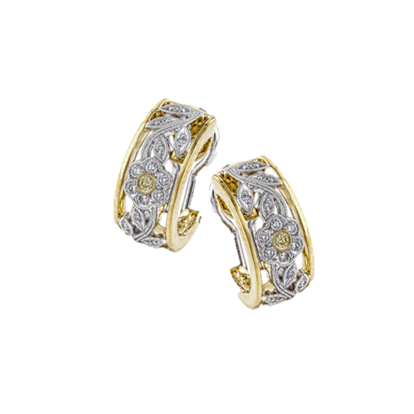 Simon G two-tone vintage diamond earrings. Holliday Jewelry Klamath Falls, OR