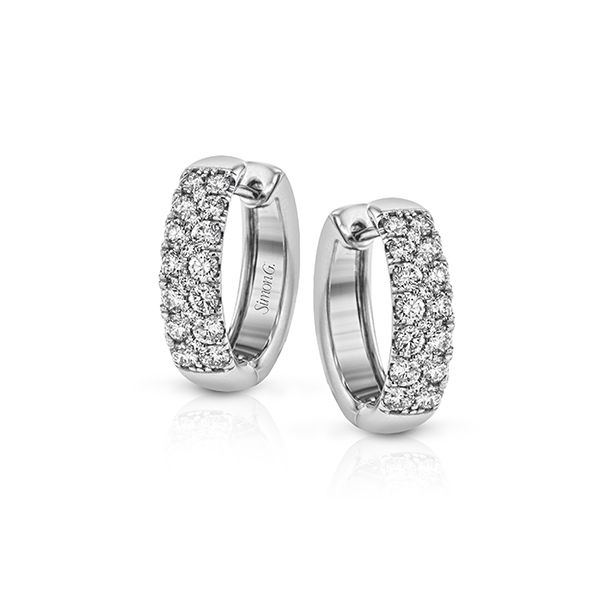 Simon G 18 karat white gold pave diamond hoop earrings. Holliday Jewelry Klamath Falls, OR