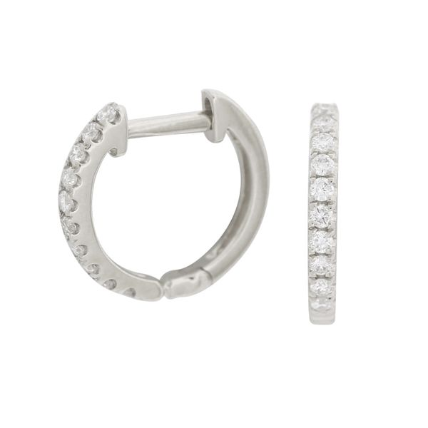 Diamond huggie hoop earrings. Holliday Jewelry Klamath Falls, OR