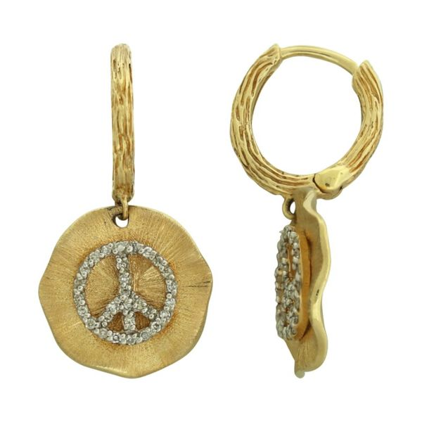 Peace sign dangle diamond earrings. Holliday Jewelry Klamath Falls, OR