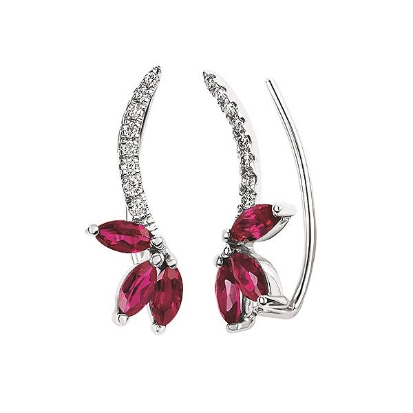 Ruby and diamond climber earrings. Holliday Jewelry Klamath Falls, OR
