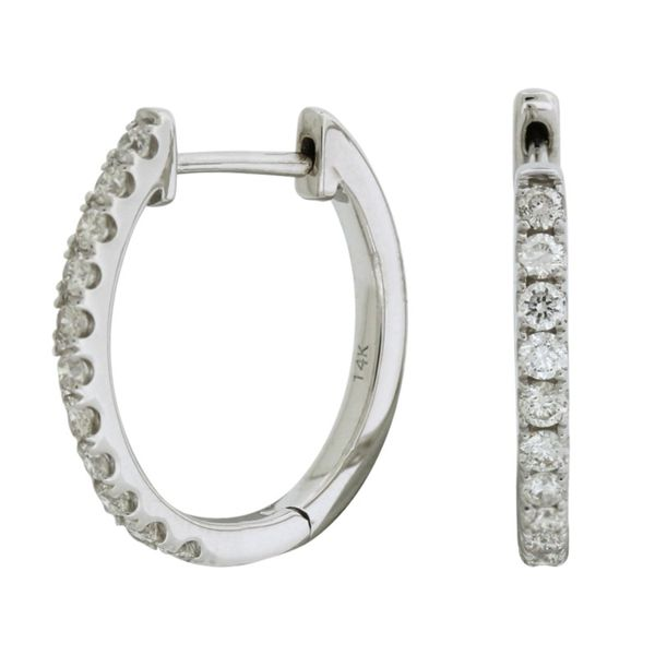 Oval diamond hoop earrings. Holliday Jewelry Klamath Falls, OR