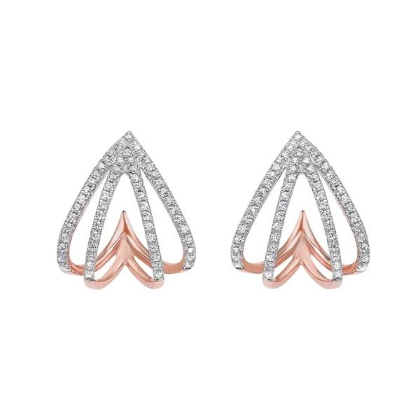 Rose gold half hoop diamond earrings. Holliday Jewelry Klamath Falls, OR