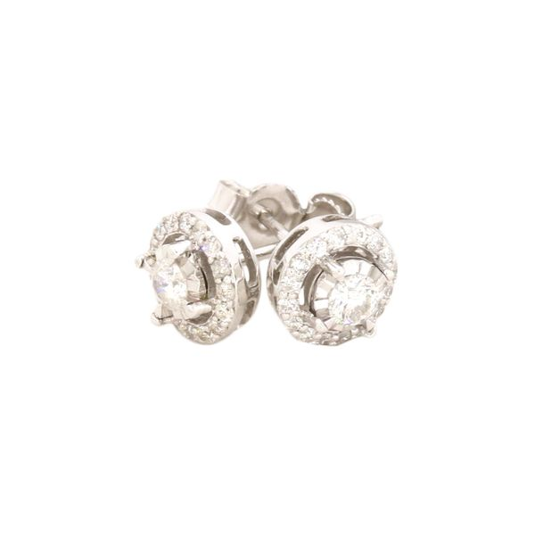 Halo design diamond earrings. Holliday Jewelry Klamath Falls, OR