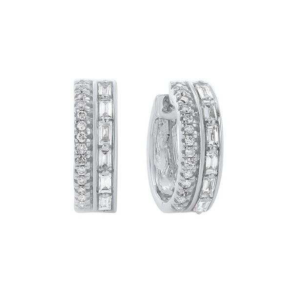 Double row diamond hoop earrings. Holliday Jewelry Klamath Falls, OR