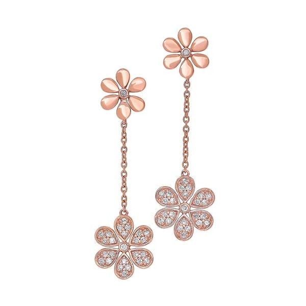 Rose gold dangle diamond earrings. Holliday Jewelry Klamath Falls, OR