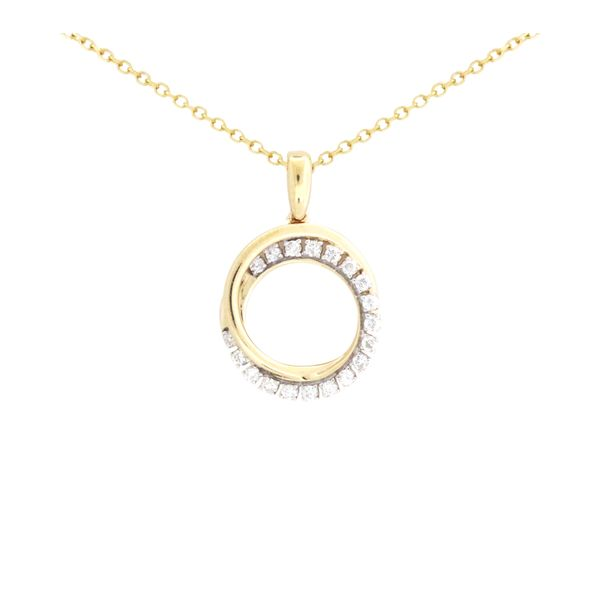 Interlocking circles diamond pendant in yellow gold. Holliday Jewelry Klamath Falls, OR