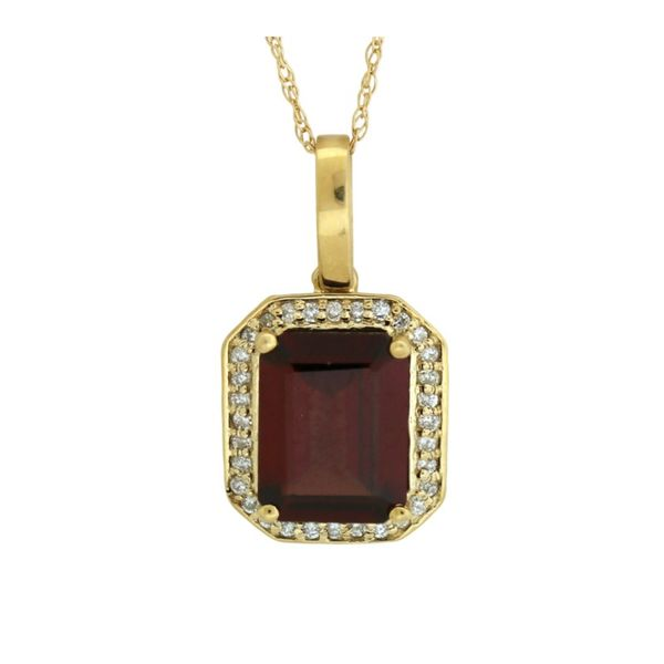 Traditional style garnet and diamond pendant. Holliday Jewelry Klamath Falls, OR