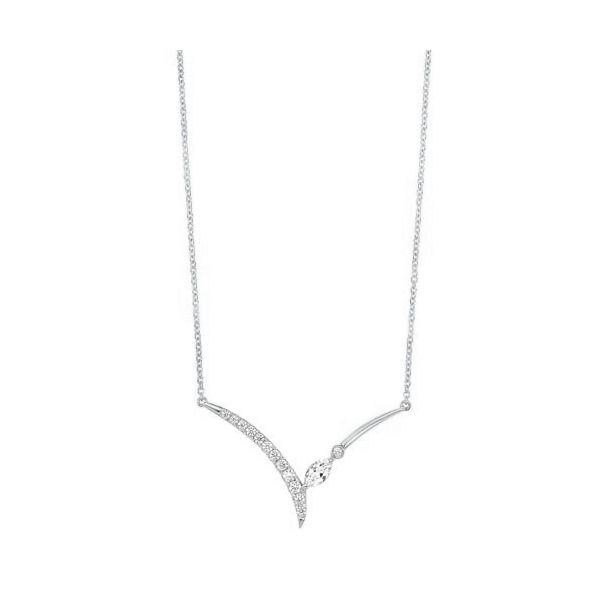 Graceful diamond necklace in 14 karat white gold. Holliday Jewelry Klamath Falls, OR