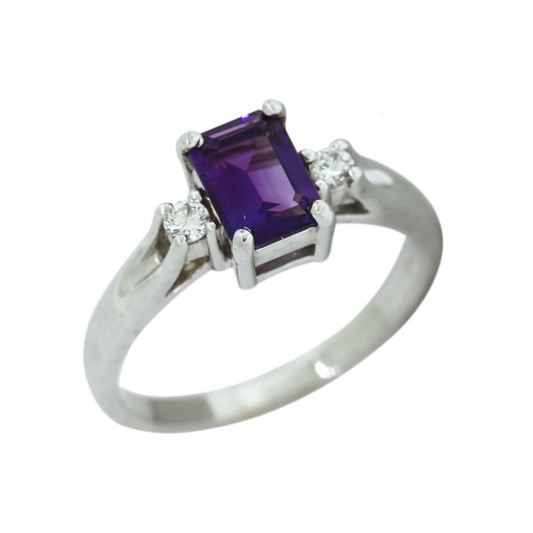 Stunning amethyst and diamond ring featured in 14 karat white gold. Holliday Jewelry Klamath Falls, OR