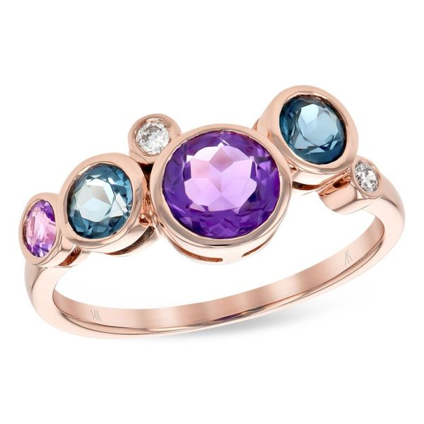Allison Kaufman 14 karat rose gold bubble style colored stone ring. Holliday Jewelry Klamath Falls, OR