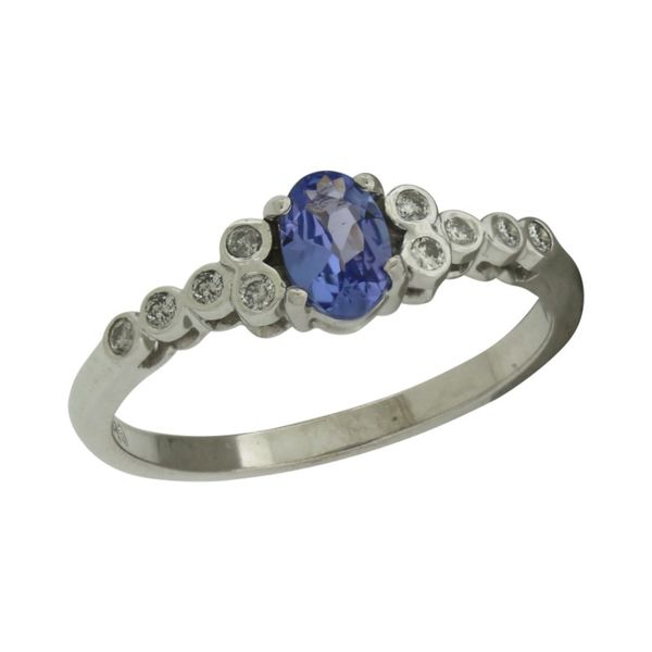 Tanzanite and diamond ring featured in white gold. Holliday Jewelry Klamath Falls, OR