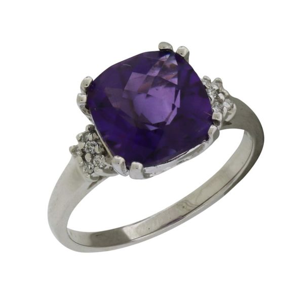 Checkerboard cut Amethyst and Diamond ring in white gold. Holliday Jewelry Klamath Falls, OR