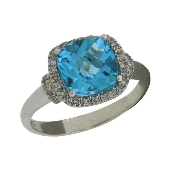 Halo design blue topaz and diamond ring featured in white gold. Holliday Jewelry Klamath Falls, OR