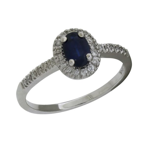 Halo style sapphire ring. Holliday Jewelry Klamath Falls, OR